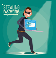 Thief character hacker stealing sensitive vector