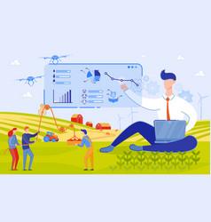 Use drones on farm cartoon vector