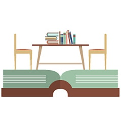 Vintage Chairs And Bookcase On Huge Book vector image