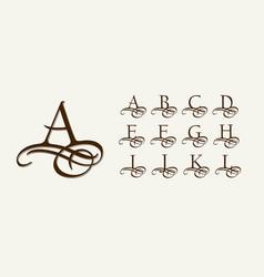 Vintage set 1 calligraphic capital letters vector