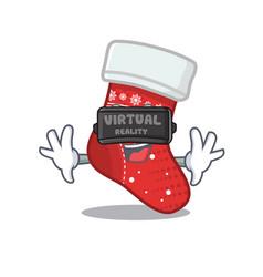 virtual reality christmas stocking character vector image