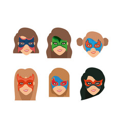 White background set face super hero women with vector