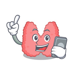 With phone thyroid character cartoon style vector