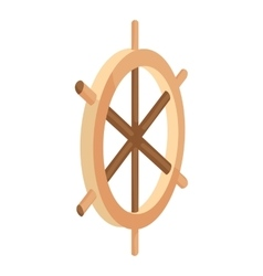 Wooden ship wheel icon cartoon style vector