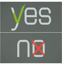 Yes and no button checkmark on gray background vector image