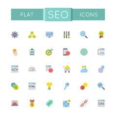 Flat SEO Icons vector image vector image