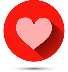 Pink heart icon on red background with shadow vector image vector image