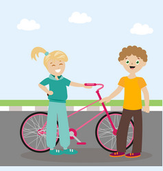 the guy and the girl are standing near the bicycle vector image vector image