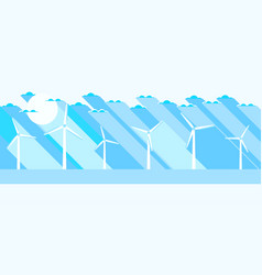 wind turbine flat landscape renewable energy vector image