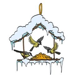 Birdfeeder in winter forest vector image vector image