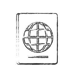 blurred silhouette passport with globe symbol vector image