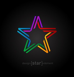 colorful star from ribbon on black background vector image