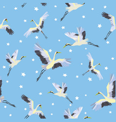 japanese seamless pattern of birds and water vector image vector image