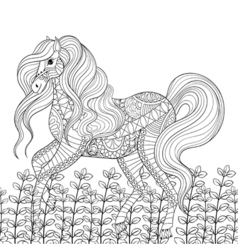 Racing horse adult anti stress coloring page Hand vector image vector image
