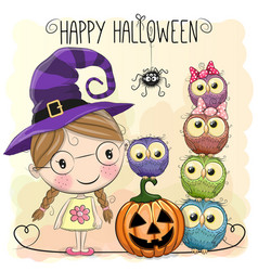 halloween card with girl and owls vector image vector image