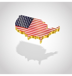 Map and flag of usa isolated vector