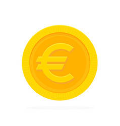 gold euro coin in flat style vector image