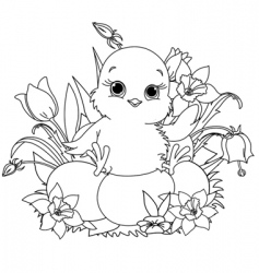 happy Easter chick coloring page vector image vector image