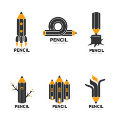 set of graphic black white and yellow pencil vector image vector image