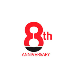 8 years anniversary logotype with black and red vector