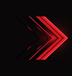 Abstract red metallic arrow light on black vector