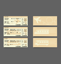 Airplane bus train tickets concept design vector