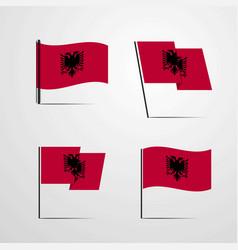 Albania waving flag set design vector