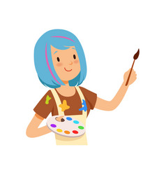 Artist character girl with blue hairs holding vector