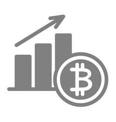 Bitcoin increase solid icon cryptocurrency growth vector