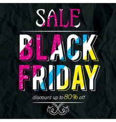 Black friday sale banner on crumple paper vector image