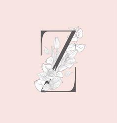 blooming floral elegant z monogram and logo vector image