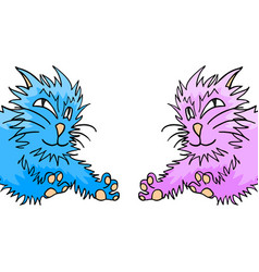 Blue and pink cats vector