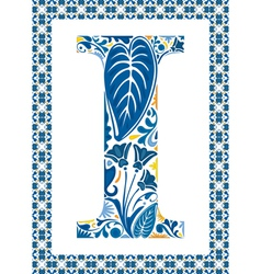 Blue letter I vector