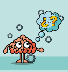 brain cartoon confused questions mak speech bubble vector image