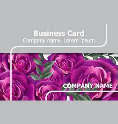 Business card with roses flowers realistic vector
