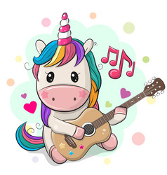 cartoon unicorn with colorful hair is playing vector image