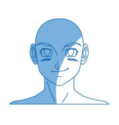 Cartoon young guy anime boy character japanese vector