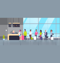 check in airport group of mix race passengers vector image