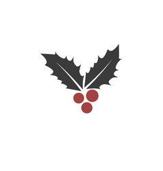 christmas leaf and berry icon vector image