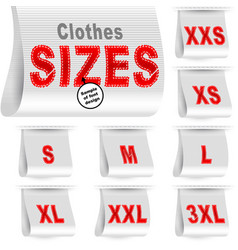 Clothes size label marketing tag sticker sewn set vector