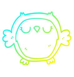 Cold gradient line drawing cartoon owl vector