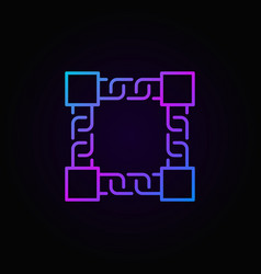 Colored block chain technology line icon or vector