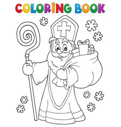 Coloring book saint nicholas topic 2 vector