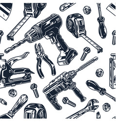 Construction tools monochrome seamless pattern vector