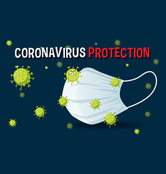 coronavirus protection banner with mask vector image
