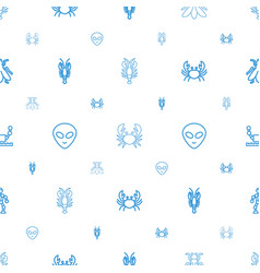 Creature icons pattern seamless white background vector