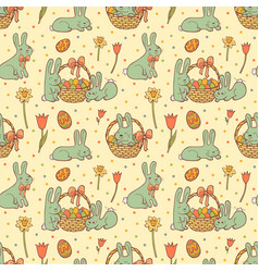 cute easter seamless pattern vector image