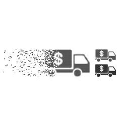 Damaged pixel halftone cash delivery icon vector