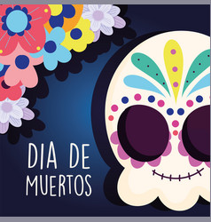 Day dead catrina flowers ornate decoration vector