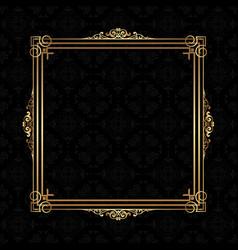Decorative frame on a damask pattern background vector